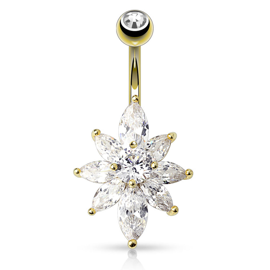 Glacier Marquise Belly Ring in Gold - Fixed (non-dangle) Belly Bar. Navel Rings Australia.