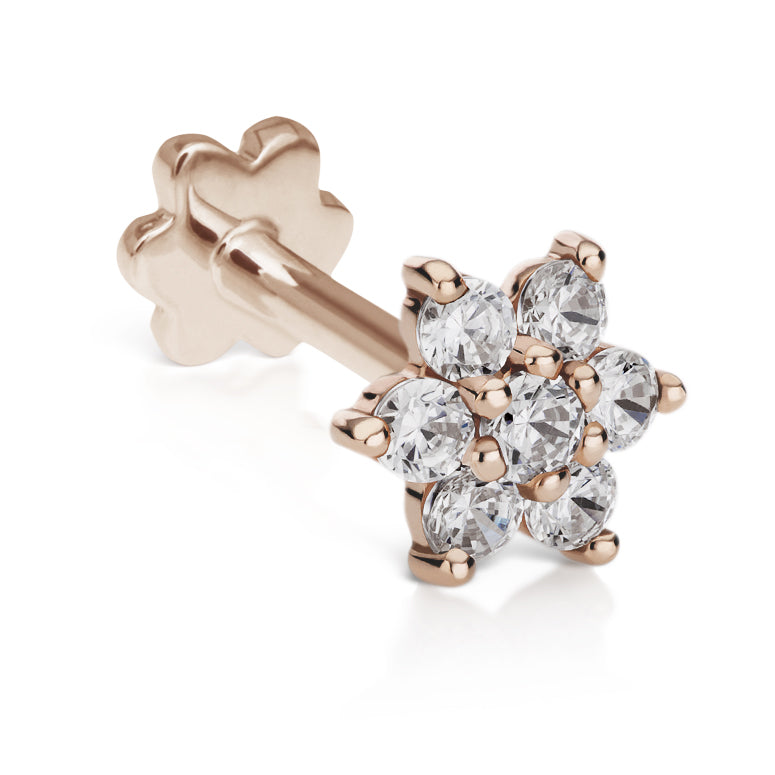 CZ Flower Earring by Maria Tash in 14K Rose Gold. Flat Stud. - Earring. Navel Rings Australia.