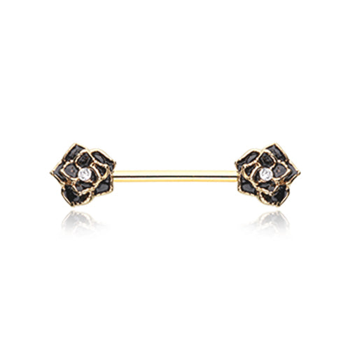 Nipple Ring. Quality Belly Bars. Classic Glam Rose Nipple Piercing Jewellery in Gold