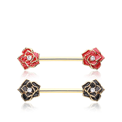 Classic Glam Rose Nipple Piercing Jewellery in Gold - Nipple Ring. Navel Rings Australia.