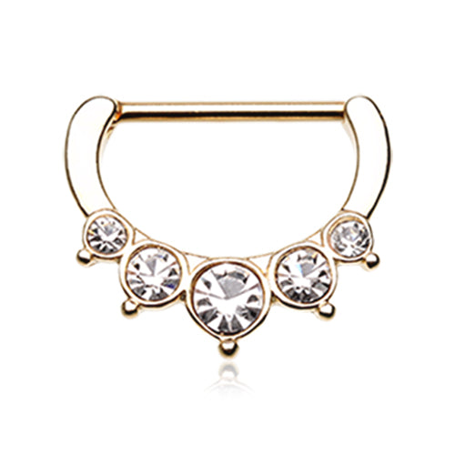Classic Bezel Pave Nipple Clicker in Gold - Nipple Ring. Navel Rings Australia.