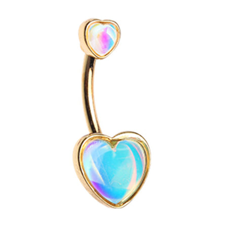 Retro Frontal Hearts Belly Bar in Gold - Fixed (non-dangle) Belly Bar. Navel Rings Australia.
