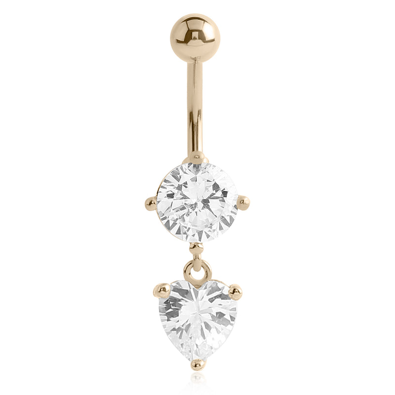 14K Gold Lovers Classic Belly Dangle - Dangling Belly Ring. Navel Rings Australia.