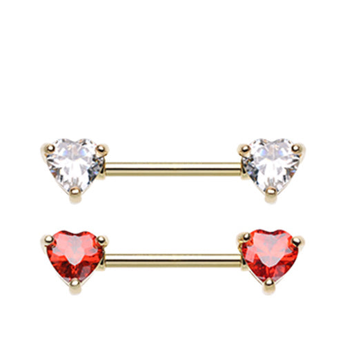 Classic Gold Duo Heart Nipple Rings - Nipple Ring. Navel Rings Australia.