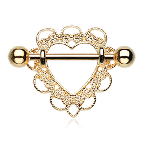 Nipple Ring. Shop Belly Rings. Gold Heart Filigree Nipple Shield Ring
