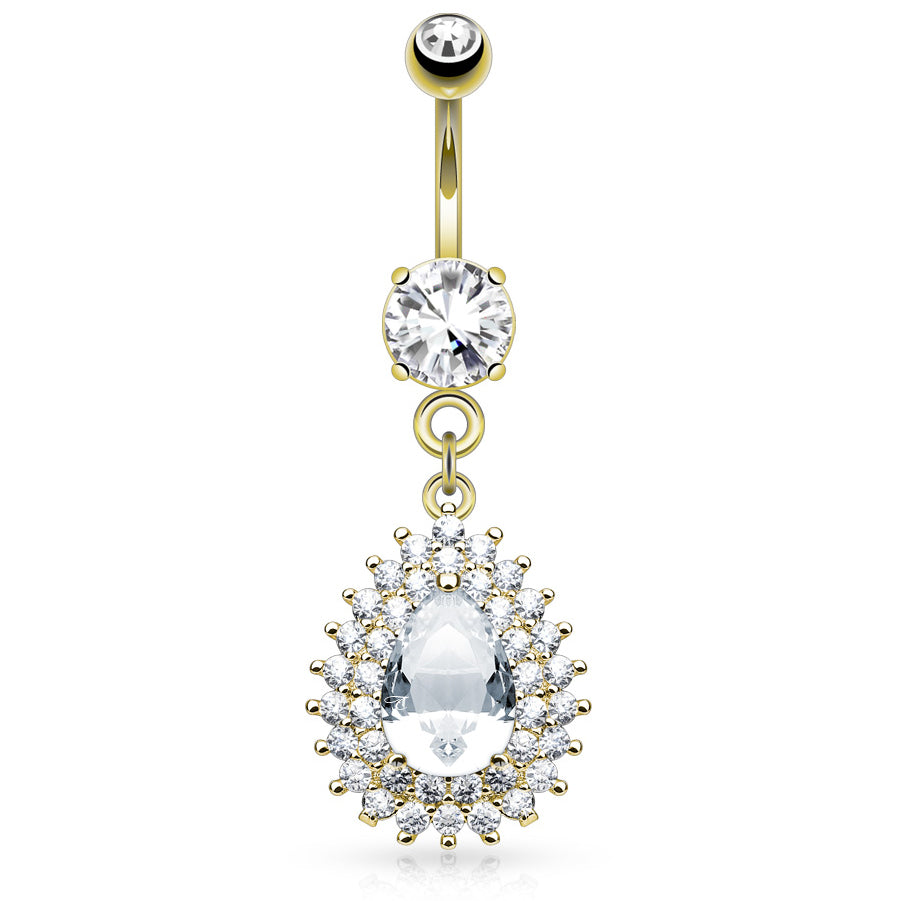Astrid Gold Belly Dangle - Dangling Belly Ring. Navel Rings Australia.