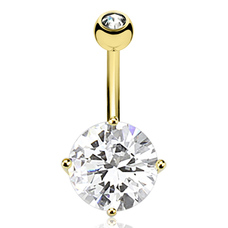 Kingdom Gem Belly Ring in 14K Gold - Fixed (non-dangle) Belly Bar. Navel Rings Australia.