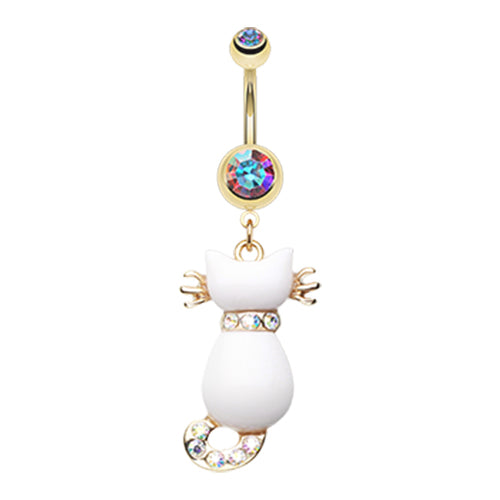 Audacious White Kitty Belly Ring in Gold - Dangling Belly Ring. Navel Rings Australia.