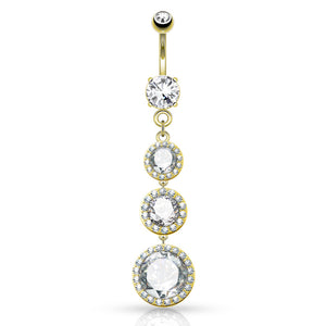 Diva Dangle Belly Ring in Gold - Dangling Belly Ring. Navel Rings Australia.