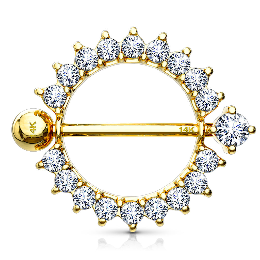 14K Gold Sunburst Nipple Ring - Nipple Ring. Navel Rings Australia.