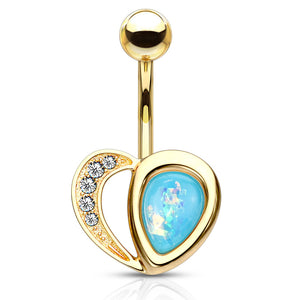 Aphrodite's Opal Heart Belly Bar in Gold - Fixed (non-dangle) Belly Bar. Navel Rings Australia.