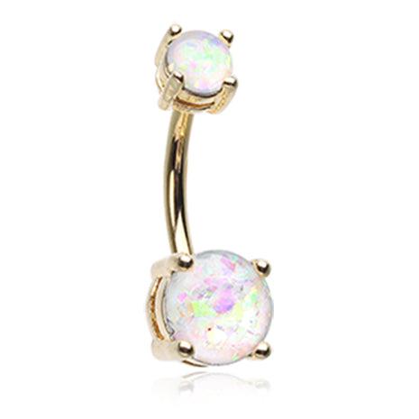 Classic Prong Opal Belly Rings in Gold - Basic Curved Barbell. Navel Rings Australia.
