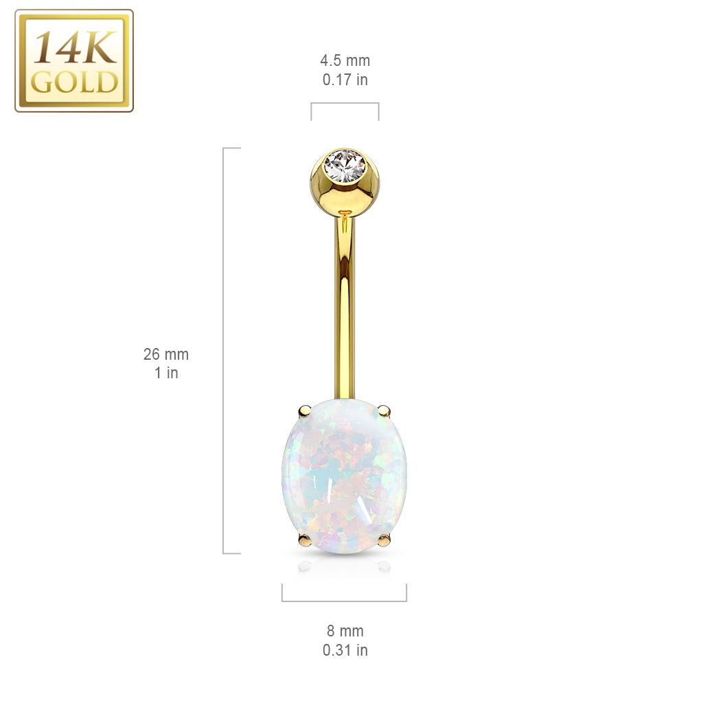 Fixed (non-dangle) Belly Bar. Shop Belly Rings. 14K Solid Gold Classic Opal Belly Ring