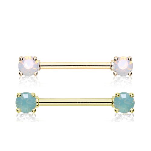 Opaline Nipple Barbell Ring in Gold - Nipple Ring. Navel Rings Australia.