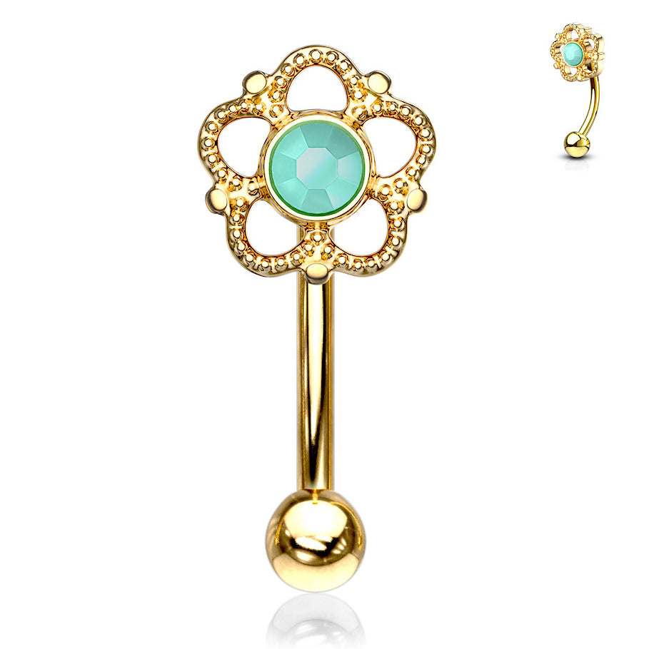 16g Petite Eleanor Reverse Navel Ring in Gold - Reverse Top Down Belly Ring. Navel Rings Australia.