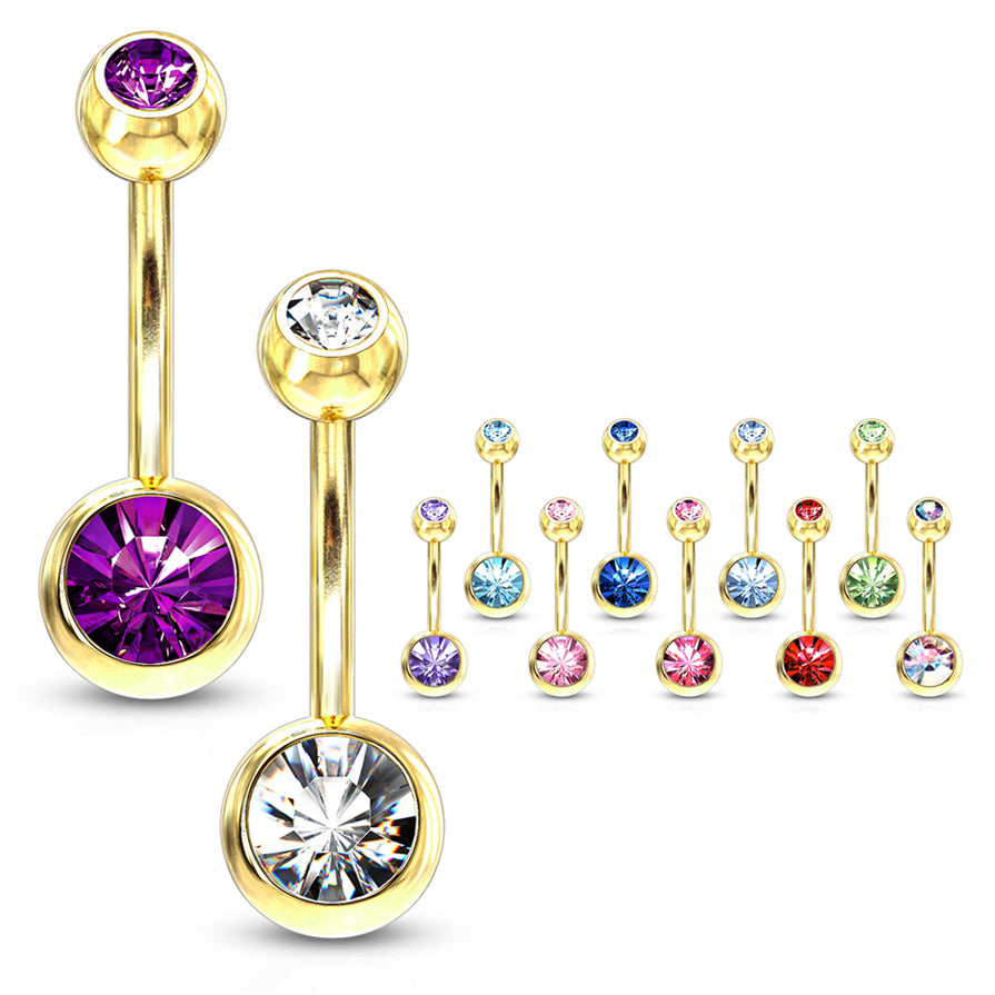Classique Gold Plated Gem Belly Bars - Basic Curved Barbell. Navel Rings Australia.