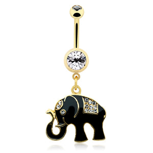 Elephant Totem Belly Ring in Gold - Dangling Belly Ring. Navel Rings Australia.