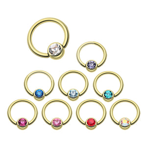 Gold Plated Classic Gem Captive Belly Rings - Captive Belly Ring. Navel Rings Australia.