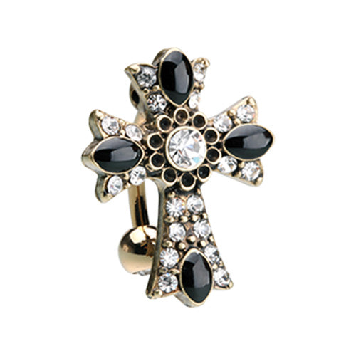 Byzantine Goth Daisy Cross Belly Ring in Gold - Reverse Top Down Belly Ring. Navel Rings Australia.