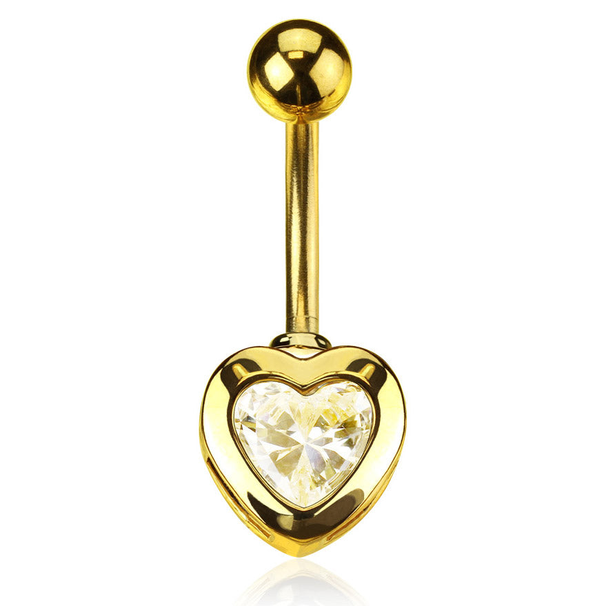 14kt Gold Plated Heart Belly Piercing - Fixed (non-dangle) Belly Bar. Navel Rings Australia.