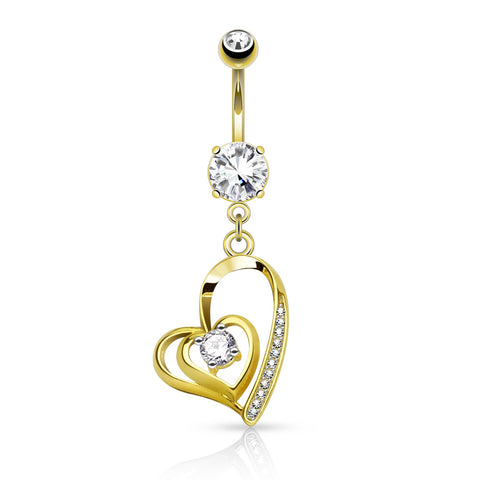 Dangling Belly Ring. Quality Belly Bars. Lovers Contour Fusion Belly Bar in 14K Gold
