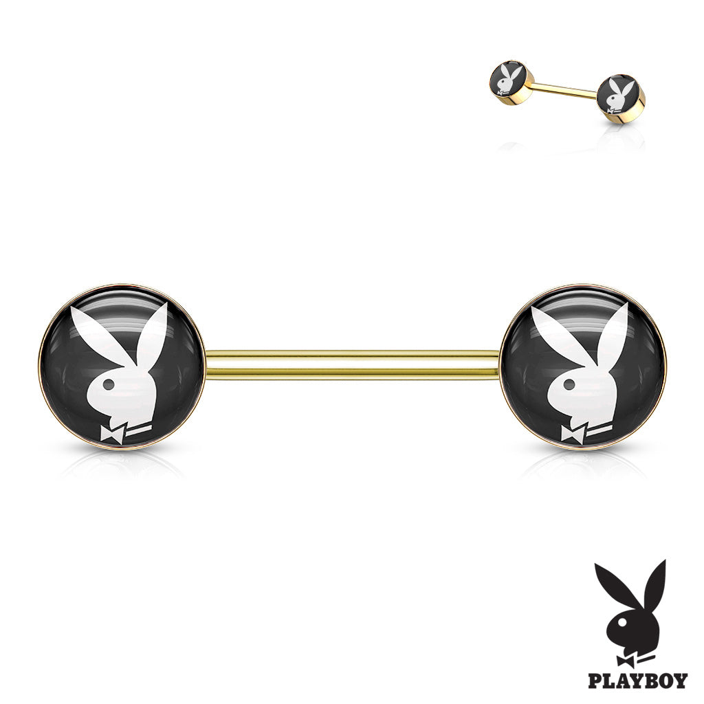Official Black Playboy Bunny Logo Nipple Bar in Gold - Nipple Ring. Navel Rings Australia.