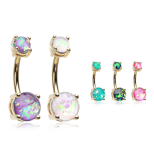 Classic Prong Opal Gleam Belly Rings in Gold - Basic Curved Barbell. Navel Rings Australia.