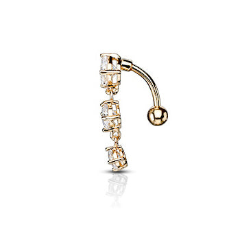Classic Gold Drop Reverse Belly Button Bar - Reverse Top Down Belly Ring. Navel Rings Australia.