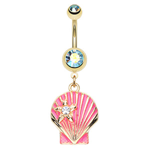 Bay Scallop Shell Belly Bar - Dangling Belly Ring. Navel Rings Australia.