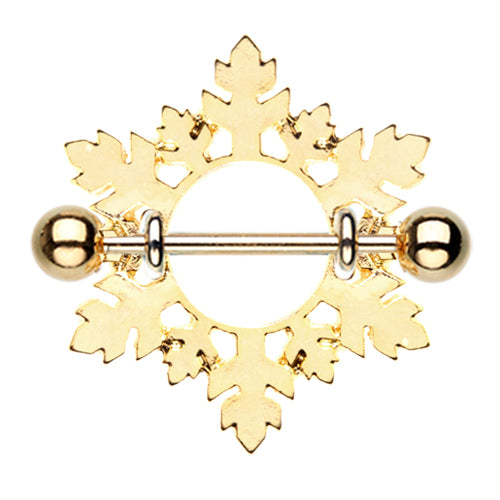 Gold Snowflake Nipple Shield Ring - Nipple Ring. Navel Rings Australia.