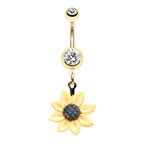 My Sunflower Belly Dangle in Gold - Dangling Belly Ring. Navel Rings Australia.