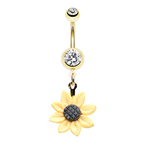 Dangling Belly Ring. Quality Belly Rings. My Sunflower Belly Dangle in Gold