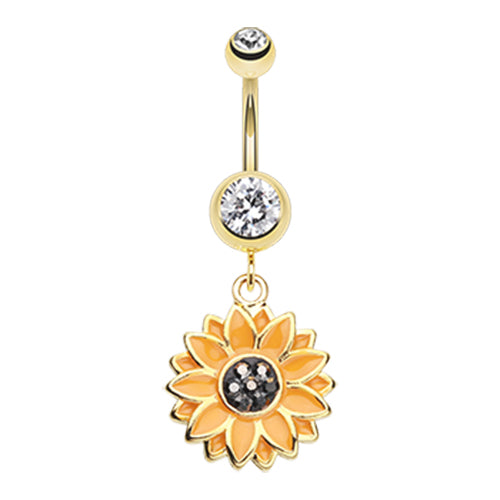 Sweet Sunflower Belly Dangle in Gold - Dangling Belly Ring. Navel Rings Australia.