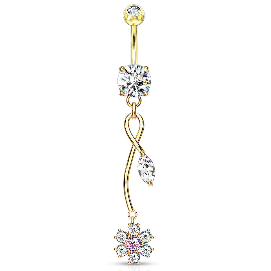 Winter Orchid Zenith Belly Ring in Yel. Gold - Dangling Belly Ring. Navel Rings Australia.