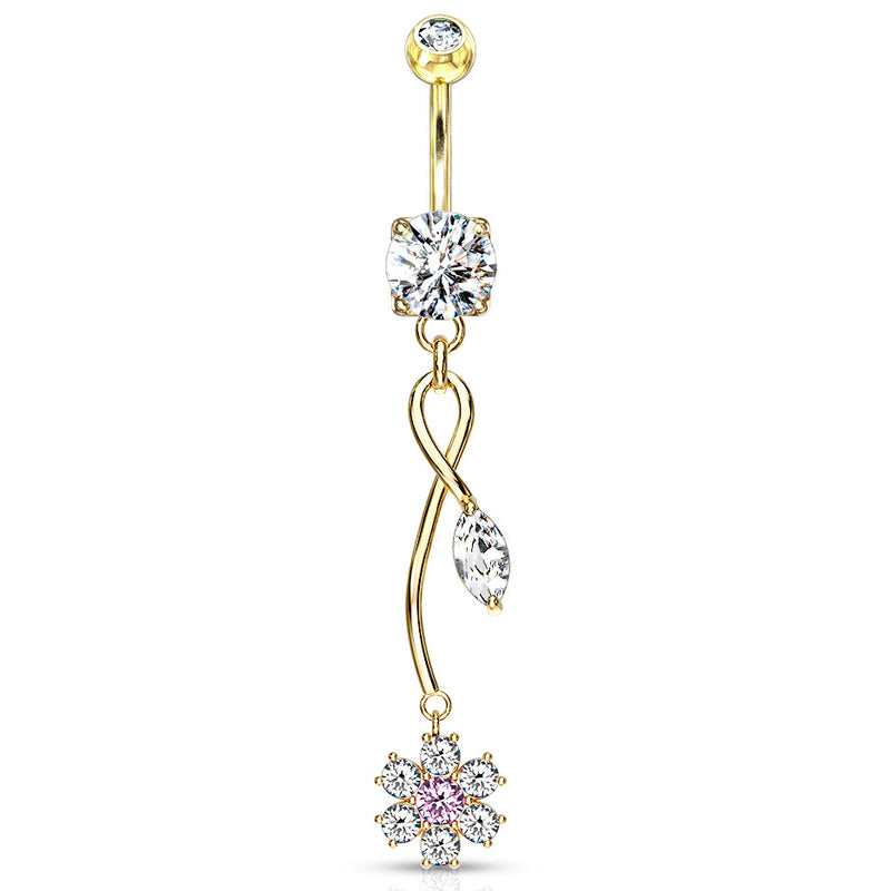 Fantasía Orchid Zenith Belly Ring in Gold - Dangling Belly Ring. Navel Rings Australia.