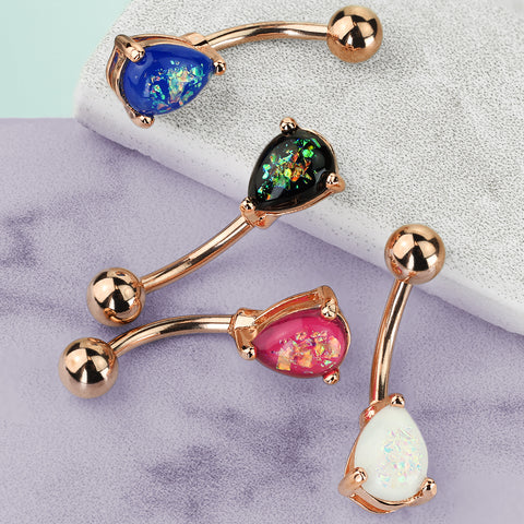 Solitaire Teardrop Opal Belly Rings in Rose Gold - Basic Curved Barbell. Navel Rings Australia.