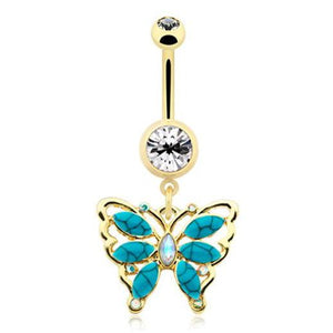 Golden Bella Turquoise Flutter Belly Bar - Dangling Belly Ring. Navel Rings Australia.