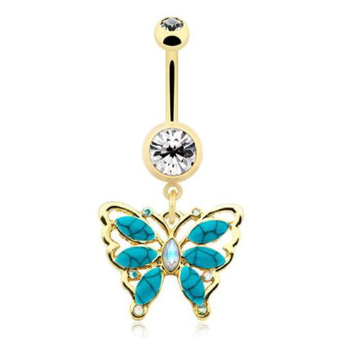 Dangling Belly Ring. Cute Belly Rings. Golden Bella Turquoise Flutter Belly Bar