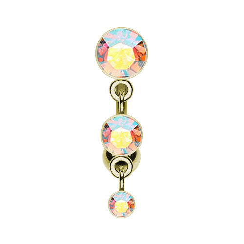 Golden Aurora Trio Reverse Belly Bar - Reverse Top Down Belly Ring. Navel Rings Australia.