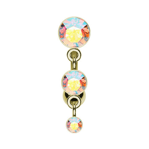 Reverse Top Down Belly Ring. Quality Belly Bars. Golden Aurora Trio Reverse Belly Bar