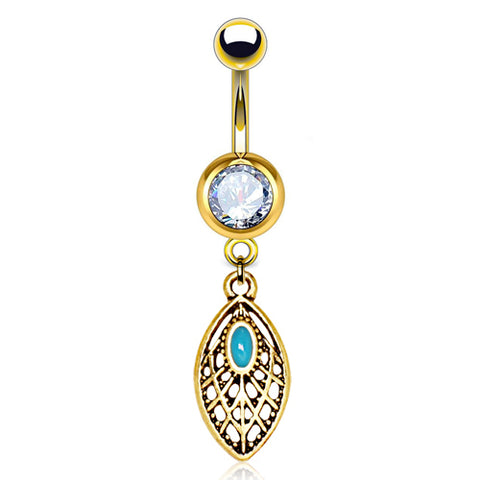 Dangling Belly Ring. Shop Belly Rings. Pharaoh's Turquoise Leaf Belly Dangle