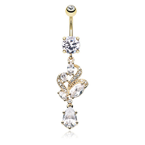 Golden Noué Gem Belly Ring - Dangling Belly Ring. Navel Rings Australia.