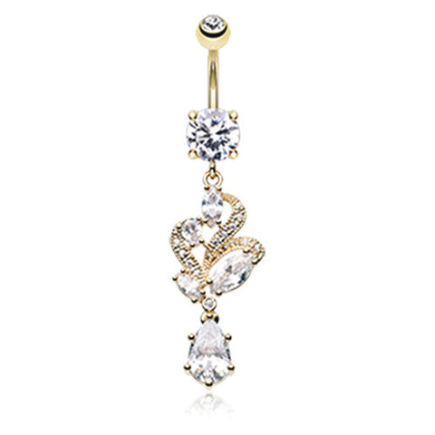 Dangling Belly Ring. Buy Belly Rings. Golden Noué Gem Belly Ring