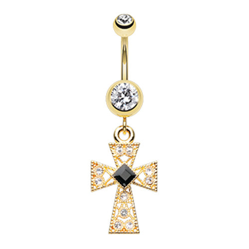 Tenebris Latin Cross Belly Dangle - Dangling Belly Ring. Navel Rings Australia.
