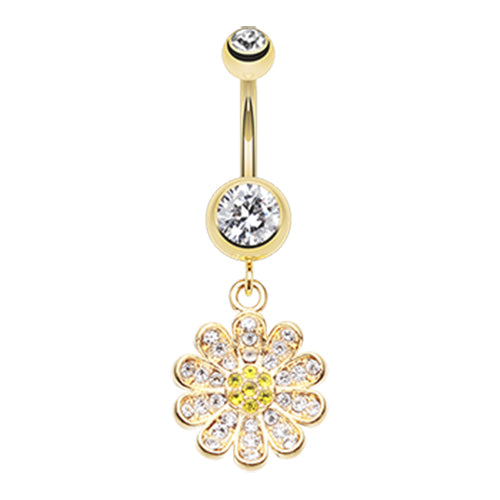 Golden Khuyen Daisy Belly Ring - Dangling Belly Ring. Navel Rings Australia.
