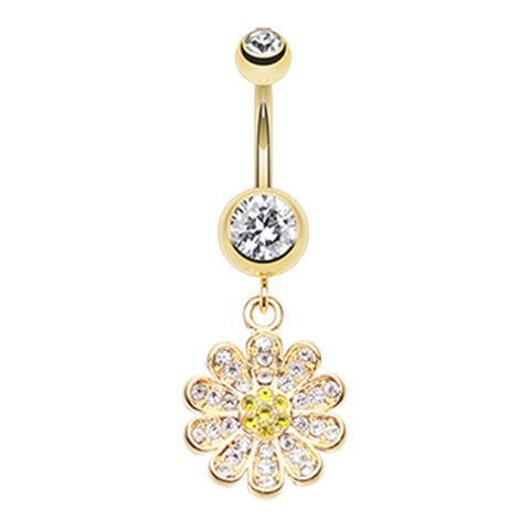 Dangling Belly Ring. Quality Belly Bars. Golden Khuyen Daisy Belly Ring