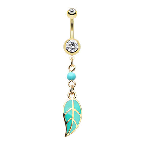 Dangling Belly Ring. Belly Bars Australia. Golden Daniella Leaflet Belly Ring