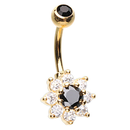 Golden Midnight Beauteous Daisy Belly Ring - Fixed (non-dangle) Belly Bar. Navel Rings Australia.