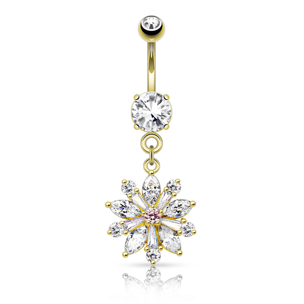 Isabella Bloom Belly Bar in 14K Yel. Gold - Dangling Belly Ring. Navel Rings Australia.