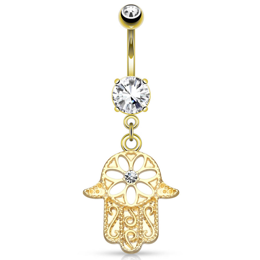 Gold Hamsa Amulet Belly Button Bar - Dangling Belly Ring. Navel Rings Australia.